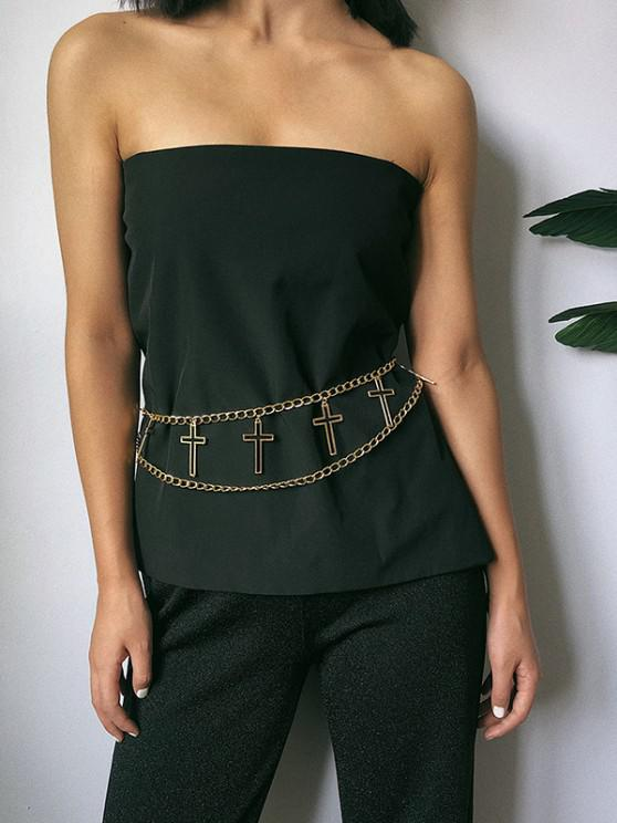 buy Hollow Cross Charm Layered Belly Chain - GOLDEN