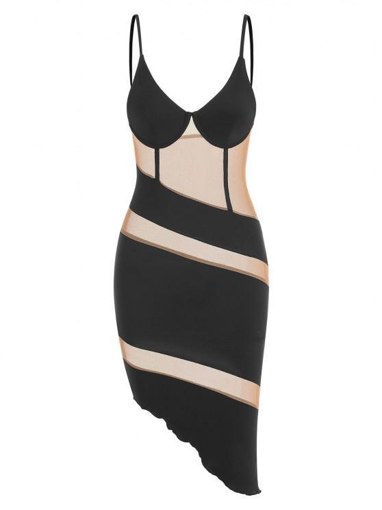 affordable Mesh Panel Slinky Asymmetrical Corset Bustier Dress - BLACK S