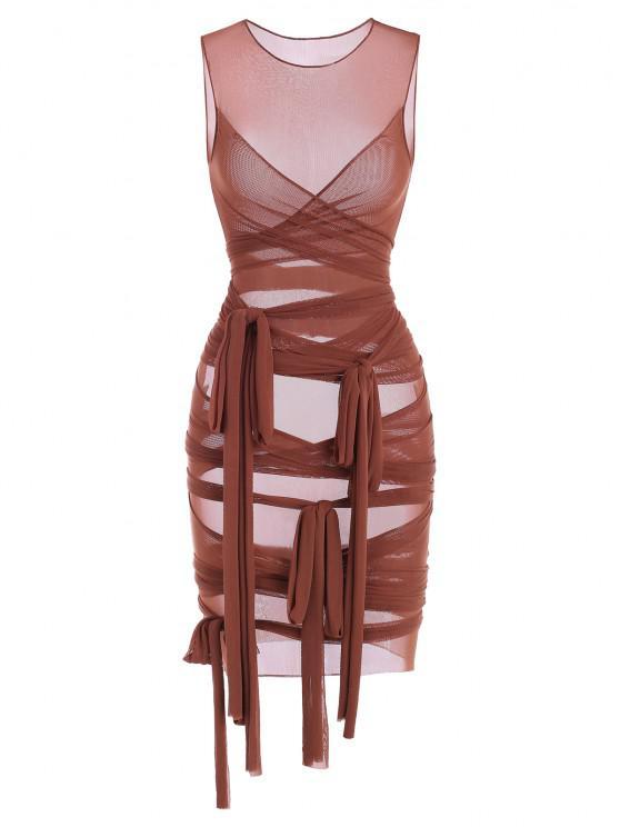 affordable Sheer Mesh Wrap-tie Slinky Bandage Dress - COFFEE M