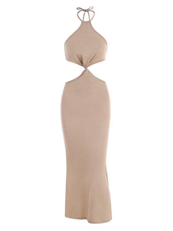 best Halter Knit Cutout Slinky Maxi Dress - COFFEE S