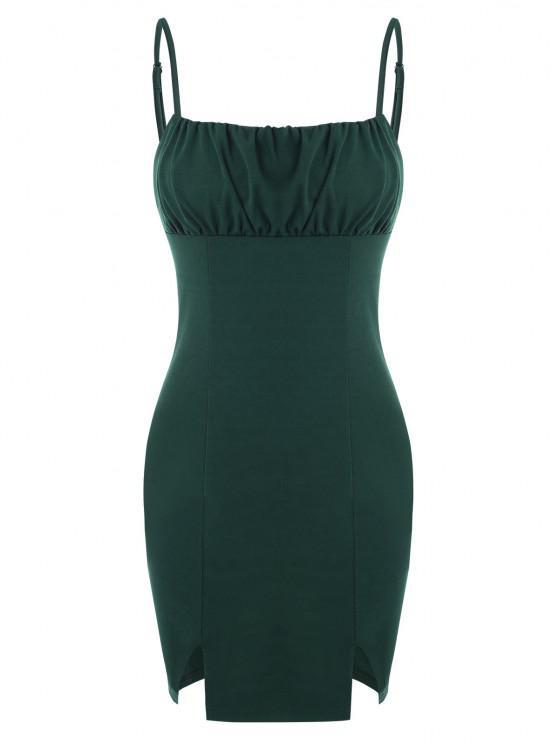 outfit Ruched Bust Split Hem Slinky Cami Dress - DEEP GREEN M