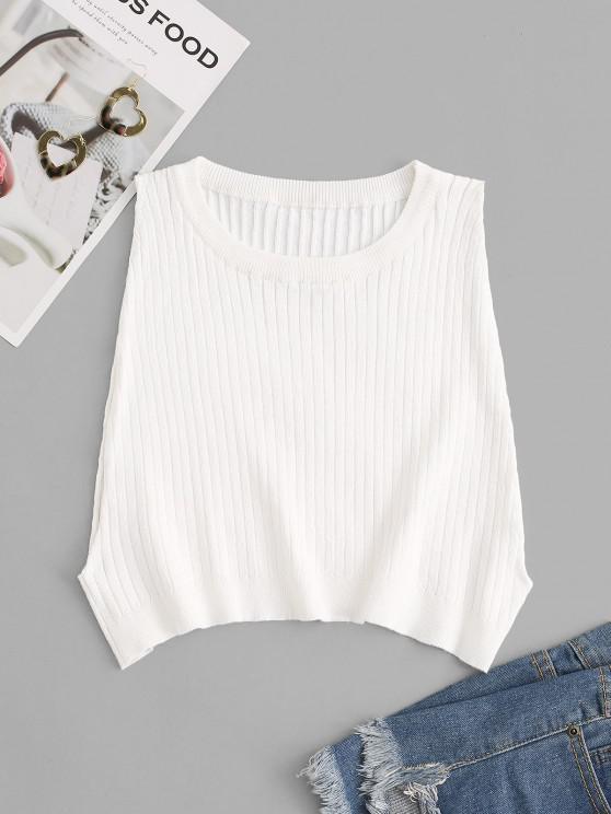 Wide Rib Knit Side Boob Crop Tank Top - أبيض S