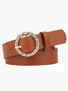 Engraved Circle Pin Buckle Belt - Tiger Orange
