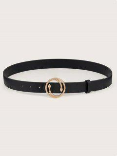 Double Snake Buckle Decorative Belt - Black