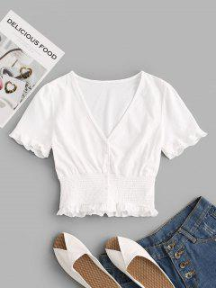 Frilled Trim Smocked Crop Top - White M