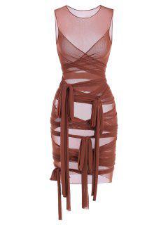 Sheer Mesh Wrap-tie Slinky Bandage Dress - Coffee M