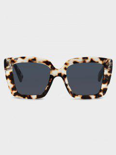 Square Tortoise Pattern Retro Sunglasses - Natural Black