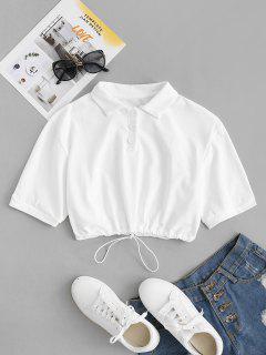 Collared Jersey Drawstring Hem Crop Top - White S