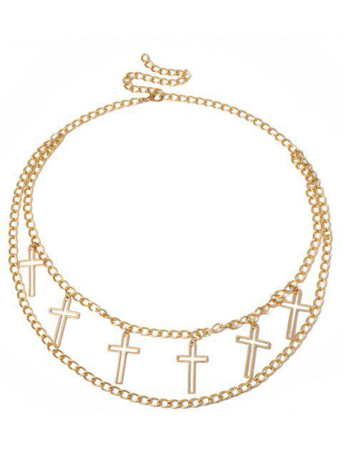 Hohl Kreuzform Charme Bauchkette - Golden  Mobile