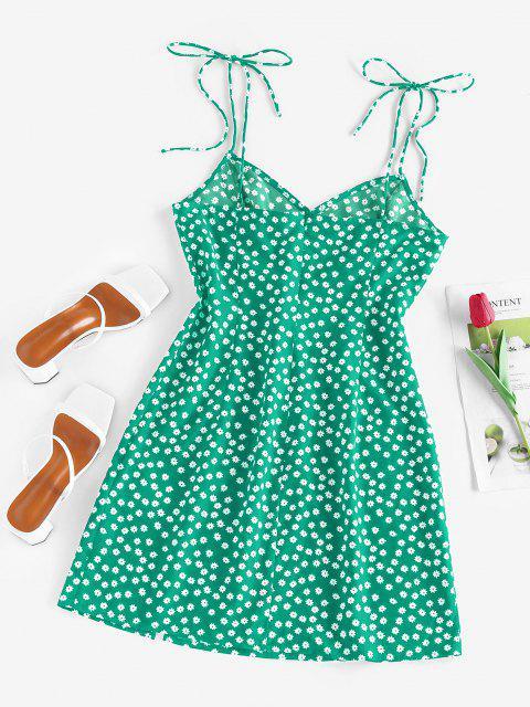 ZAFUL Mini Vestido con Nudo y Estampado de Flor - Verde S Mobile