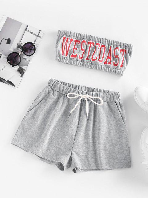 ZAFUL Conjunto de Shorts Bandeau con Bolsillo y Estampado de Letras - Gris Claro S Mobile