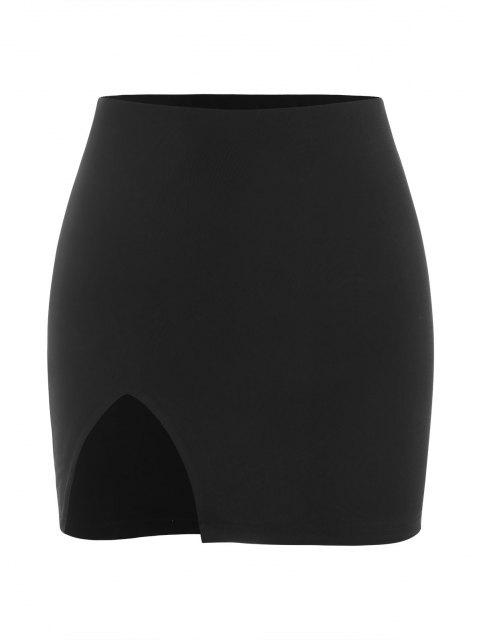 shops Slit Mini Bodycon Skirt - BLACK M Mobile
