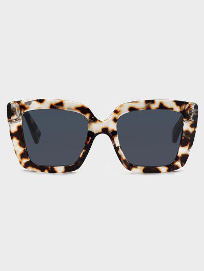 Square Tortoise Pattern Retro Sunglasses - Natural Black