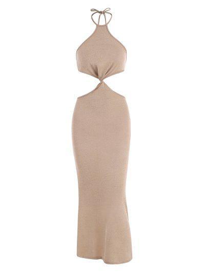 Halter Knit Cutout Slinky Maxi Dress - Coffee S