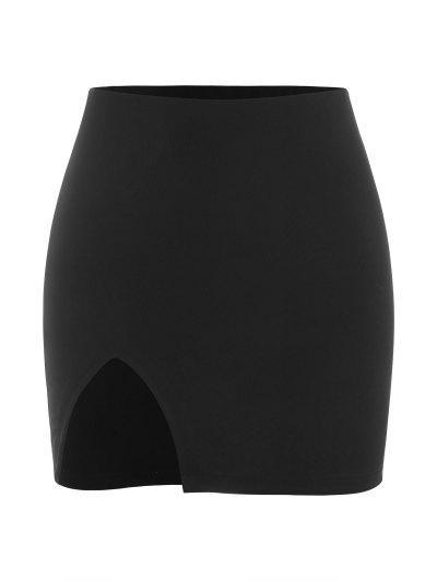 Slit Mini Bodycon Skirt - Black M