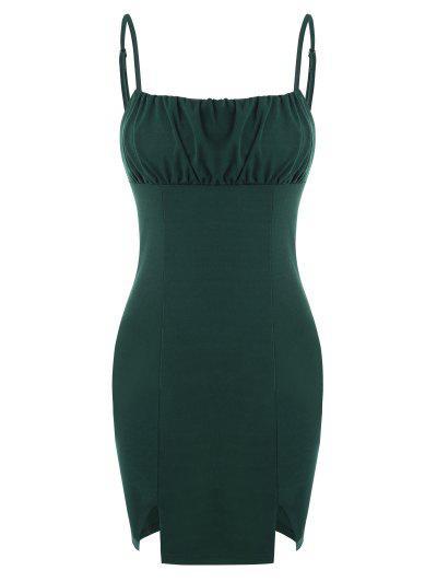 Ruched Bust Split Hem Slinky Cami Dress - Deep Green M