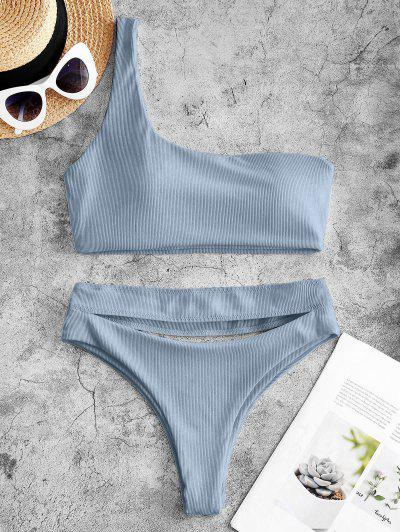 ZAFUL Ribbed Cutout One Shoulder High Leg Bikini Swimwear - Light Blue L