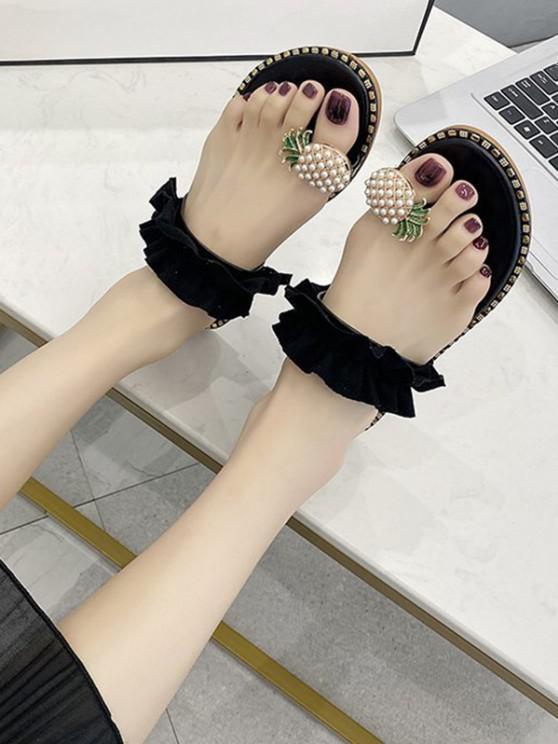 ladies Pineapple Toe Ring Flat Slides Sandals - BLACK EU 36