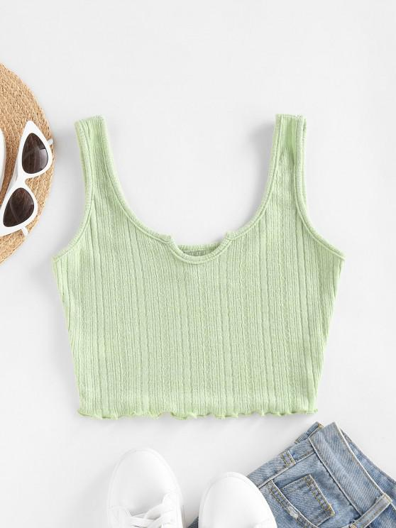 ladies ZAFUL Lettuce Trim Notched Knitted Crop Top - LIGHT GREEN S