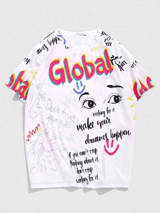 Global Eye Slogan Graphic Short Sleeve T-shirt - أبيض XL