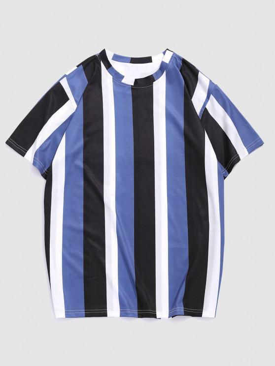 Colorblock Stripe Short Sleeve T-shirt - ردة الذرة الأزرق XXL