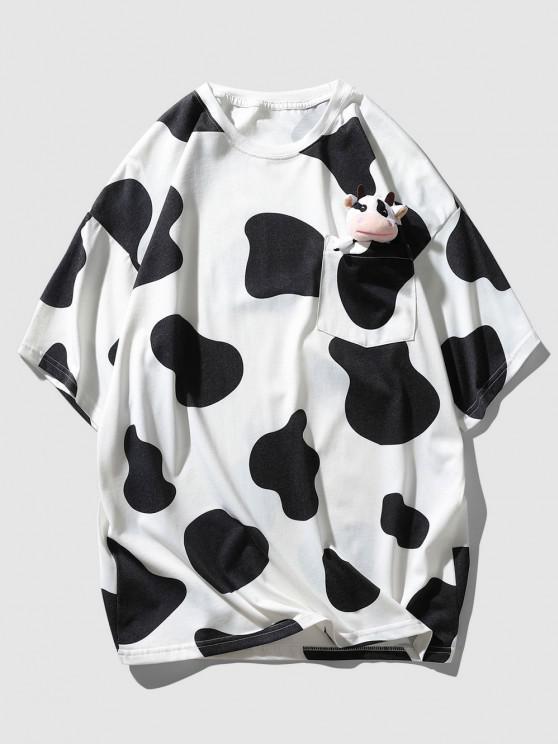 Cow Print Cute Pocket T-shirt with Doll Detail - أسود XL