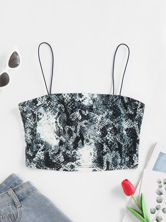 unique ZAFUL Animal Print Crop Cami Top - BLUE GRAY S