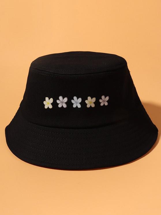 Flowers Print Bucket Hat - أسود
