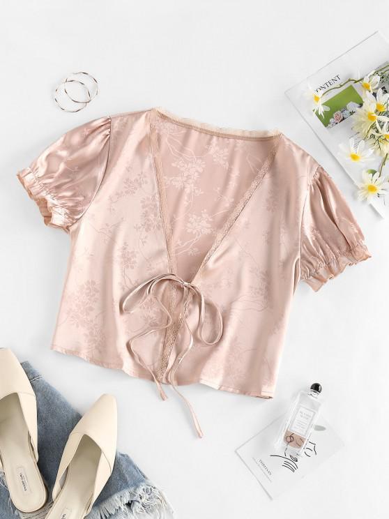 women's ZAFUL Flower Jacquard Tie Front Lace Insert Blouse - LIGHT PINK L