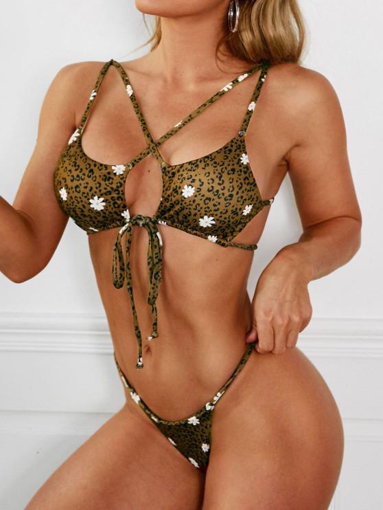 ZAFUL Leopard Daisy Criss Cross String Bikini Swimwear - قهوة S