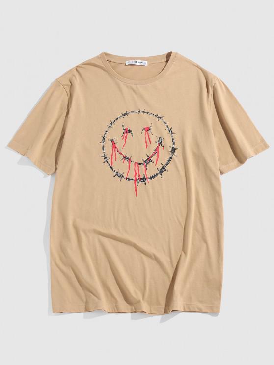 ZAFUL Drip Face Short Sleeve Basic T-shirt - القهوة الخفيفة L