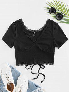 Back Tie Eyelash Lace Cropped Tee - Black S