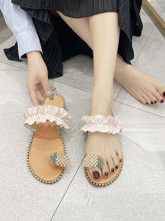 Pineapple Toe Ring Flat Slides Sandals - White Eu 40