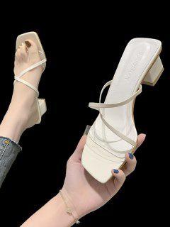 Sandalias De Tacón Fino Alto Con Cordones - Blanco Cálido Eu 40