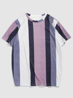 Contrasting Striped Pattern Short Sleeve T-shirt - Medium Orchid L
