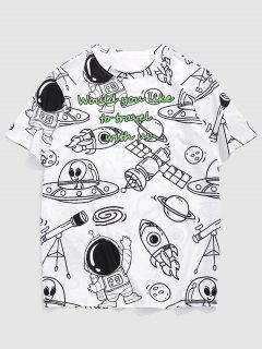 Cartoon ET Astronaut Spaceship Graphic T-shirt - White Xxl