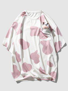 Cow Print Cute Pocket T-shirt With Doll Detail - Pink M