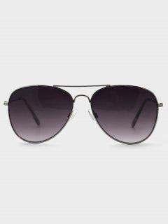 Crossbar Gradient Lens Pilot Metal Sunglasses - Carbon Gray