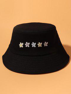 Flowers Print Bucket Hat - Black