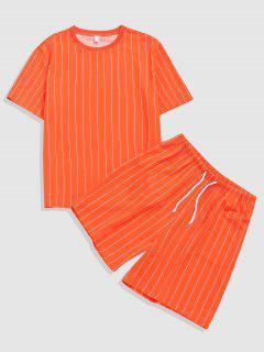 Ensemble De T-shirt Rayé Et De Short Deux Pièces - Orange Foncé M