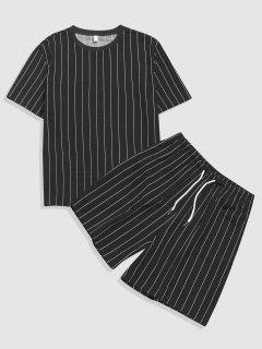 Stripe T-shirt And Shorts Two Piece Set - Black Xl