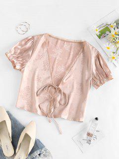 ZAFUL Flower Jacquard Tie Front Lace Insert Blouse - Light Pink L