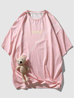 Letter Chain Print Cute T-shirt With Bear Doll Detail - Pink L
