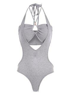 2pcs Halter Rib-knit Bandeau Top And Backless Bodysuit - Gray L
