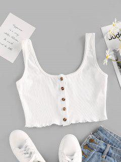ZAFUL Ribbed Lettuce Buttoned Crop Tank Top - White S
