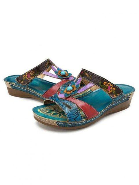 latest Ethnic Colorblock Flower Slides Sandals - MACAW BLUE GREEN EU 40 Mobile