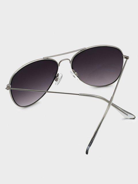 affordable Crossbar Gradient Lens Pilot Metal Sunglasses - CARBON GRAY  Mobile