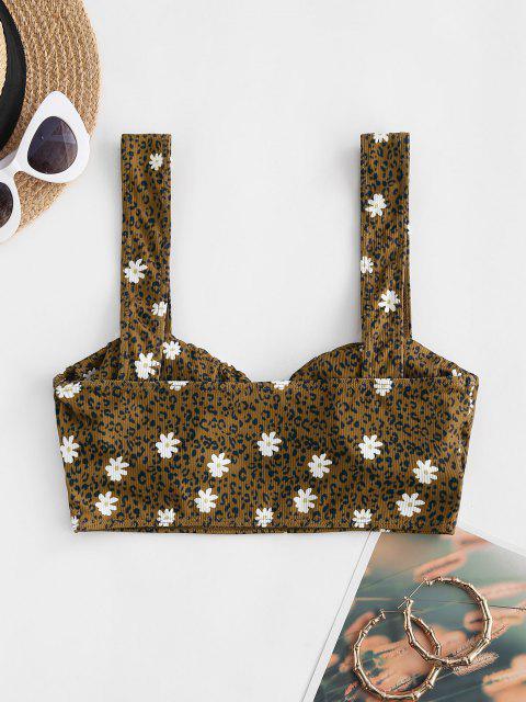 trendy ZAFUL Ribbed Leopard Daisy Print Ruched Bust Bikini Top - COFFEE L Mobile
