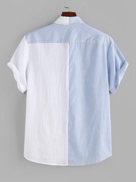 ZAFUL Gestreiftes Buchstabendruck und Hälfte Muster Hemd - Hellblau S Mobile