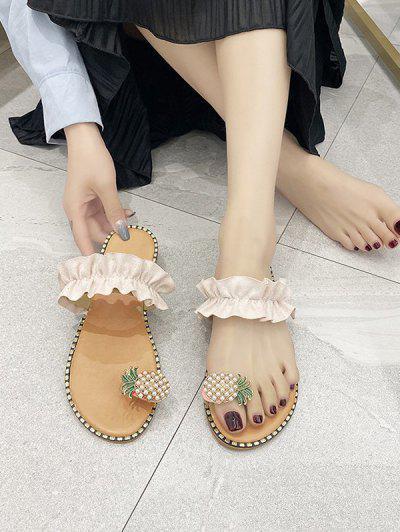 Pineapple Toe Ring Flat Slides Sandals - White Eu 36